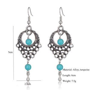 Bohemian Turquoise Dangle Drop Earrings - The Audacious Boutique