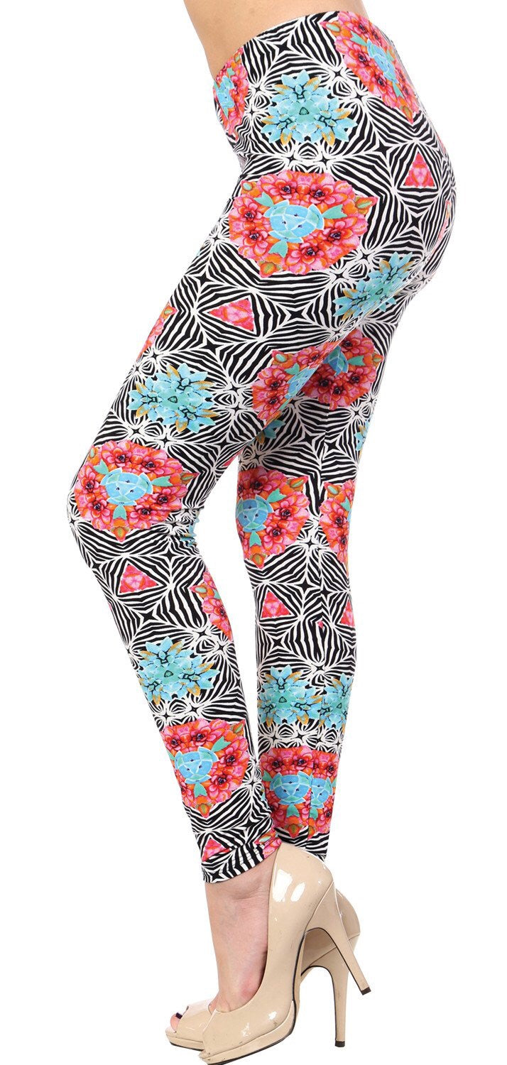 Striped Floral Printed Women Leggings - The Audacious Boutique