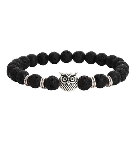 Lava Rock Owl Bracelet with Essential Oil Diffuser Beads - The Audacious Boutique