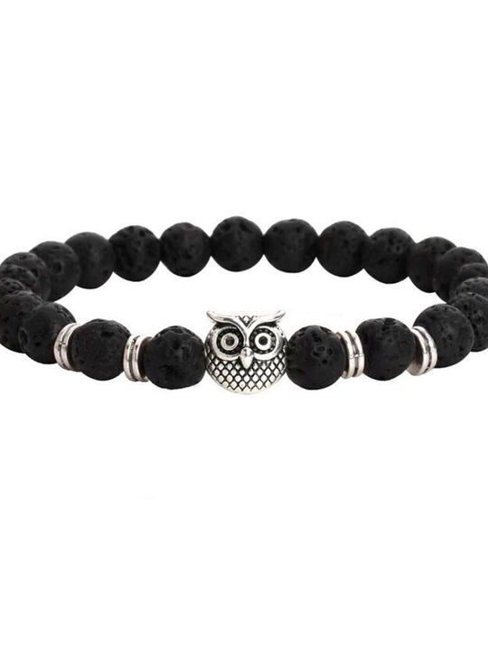 Lava Rock Owl Bracelet with Essential Oil Diffuser Beads