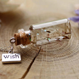 Dandelion Wish Bottle Pendant Necklace - The Audacious Boutique