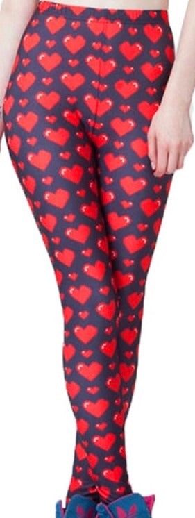 Valentines Day Hearts Printed Women Leggings - The Audacious Boutique