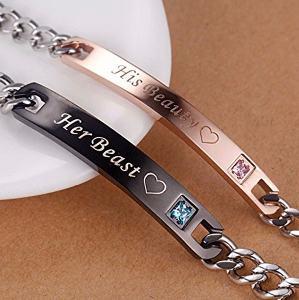 20b22f09ad His Beauty & Her Beast Couple Bracelets Set