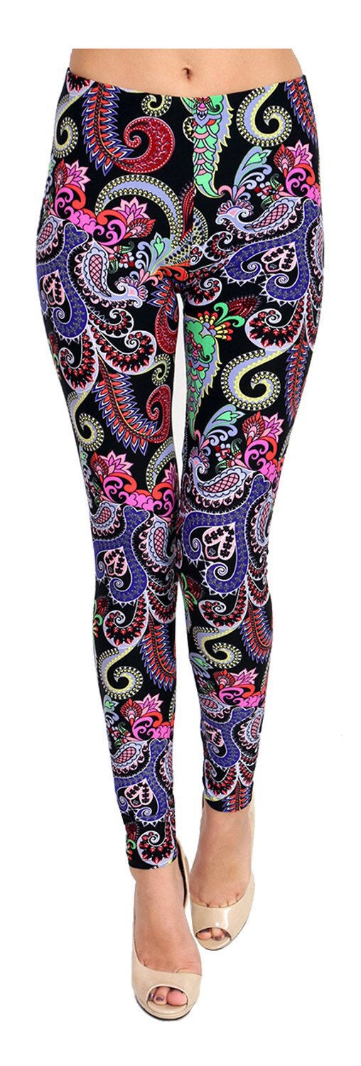 Whimsical Paisley Printed Women Leggings - The Audacious Boutique