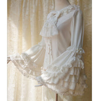Vintage Thick Women's Cream Chiffon Blouse with Gorgeous Lace Flare Sleeve by Yiliya