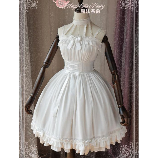Sweet White Two Way Lolita Dress Short Sleeve Cold Shoulder Halter Neck Short Dress by Magic Tea Party