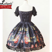 Girl Picking Flowers ~ Sweet Lolita Dress Floral Printed Women's Chiffon OP Dress by Soufflesong