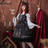 Milu City ~ Royal Vintage Dress Retro Sleeveless Printed Lolita Dress