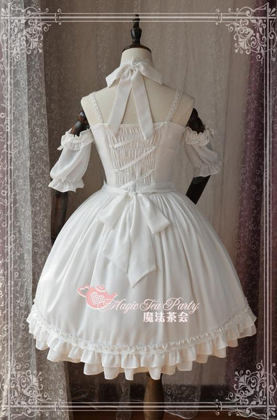 ... Sweet White Two Way Lolita Dress Short Sleeve Cold Shoulder Halter Neck  Short Dress by Magic fad16f229024