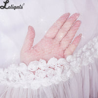 White Glittering Lolita Petticoat Long One Hoop Under Skirt