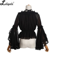 Sweet Women's Chiffon Blouse Flare Sleeve Cross Neck Lolita Top for Summer