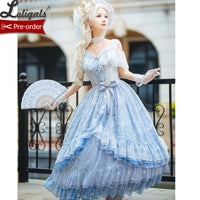 Frozen Throne ~ Fairy Sky Blue Snowflake Embroidered Ombre Lolita JSK Dress by Fantastic Wind