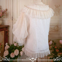 Sweet White Lolita Blouse Vintage Sheer Long Sleeve Chiffon Shirt for Women