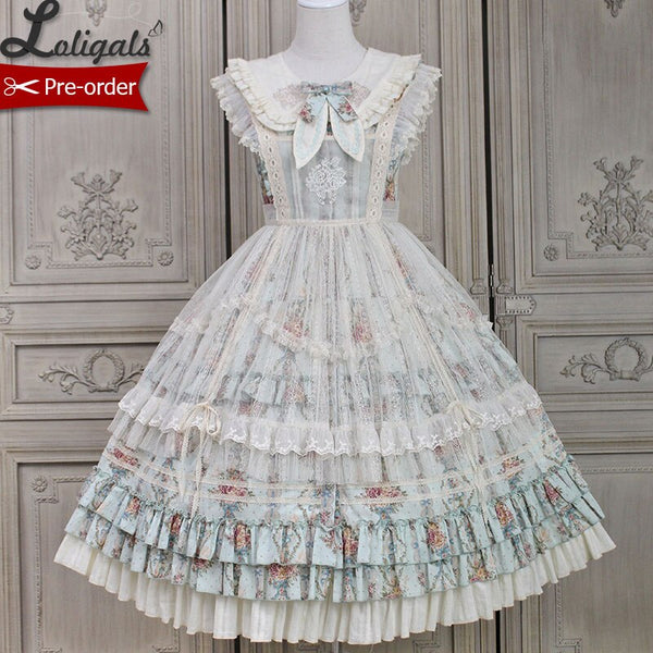 Kitten & Flower ~ Classic Country Style Lolita JSK Dress Printed Midi Party Dress by Alice Girl ~ Pre-order