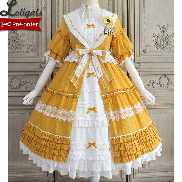Blooming Sunflowers ~ Sweet Short Sleeve Lolita Dress Classical Party Dress by Alice Girl ~ Pre-order