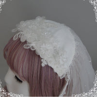 Floating Feather ~ Sweet Embroidered Lolita Veil Fingertip Bridal Veil With Lace Trimming