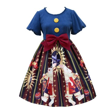 Bunny in the Circus ~ Vintage Printed Short Sleeve Lolita Dress Lantern Sleeve Party Dress