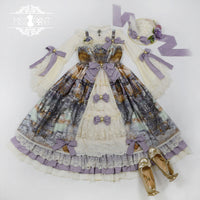 Dusk of the Gods ~ Vintage Lolita Ruffled Open Front JSK Dress by Miss Point ~ Custom Tailored