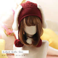 Winter Lolita Knitted Beanies Hat Lovely Bunny Pom Pom Cap