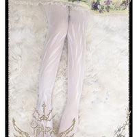 Angel's Feather ~ Sweet Lolita Summer Tights White Thin Pantyhose by Yidhra