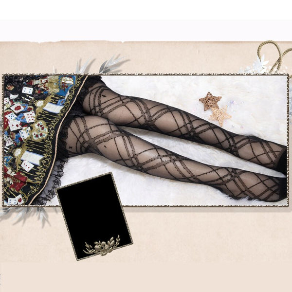 The Tale of MariOnette ~ Gothic Long Stockings Sheer Summer Thigh High Stockings by Yidhra