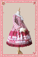 Bunny's Picnic Time ~ Sweet Printed Plaid Lolita Dress Long Sleeve Midi Party Dress by Infanta