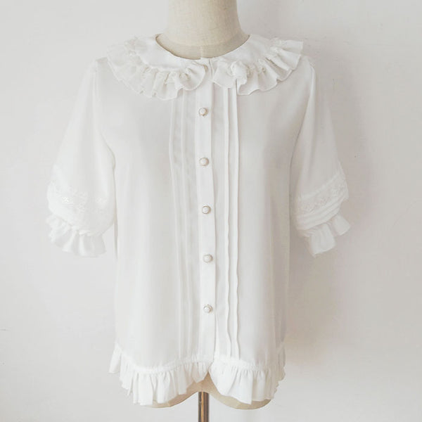 Short Lantern Sleeve Chiffon Blouse Ruffled Collar Lolita Shirt