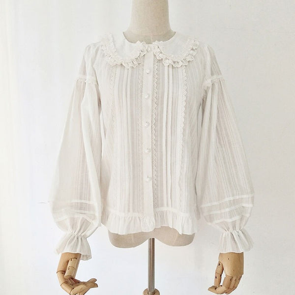 Cotton Lolita Shirt Peter Pan Collar Fleeced Long Sleeve Blouse for Women