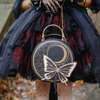 Sweet Round Lolita Satchel Bag with Butterfly Decor by LovelyLota