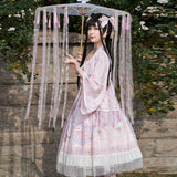 Cherry Garden ~ Vintage Style Dress w. Kimono Cardigan Hanfu Dress
