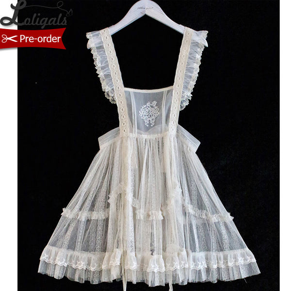 Kitten & Flowers ~ Sweet Embroidered Mesh Apron Dress Sheer Cover-up by Alice Girl ~ Pre-order