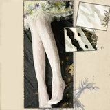 Leaf and Fluorescent ~ Sweet Lolita Thigh Highs White Long Summer Stockings by Yidhra