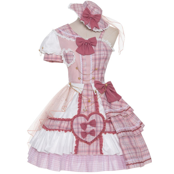 Pink Attack ~ Sweet Lolita Skirt and Top Set Plaid Asymmetrical Short Sleeve Full Set