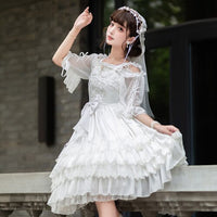 The Queen of Love ~ Elegant White Sleeveless White Lolita Princess Dress with Veil