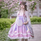 Blooming Lotus Flower ~ Vintage Hanfu Dress with Flare Chiffon Top