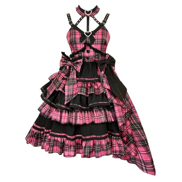 Shining Star ~ Harajuku Plaid Asymmetrical Lolita JSK Dress by Diamond Honey