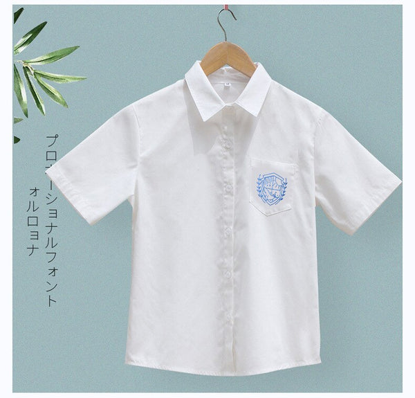 Girl's White Blouse Sweet Short Sleeve JK Shirt School Uniform Top