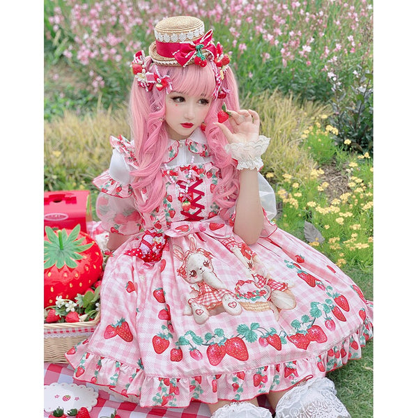 Bunny's Picnic ~ Sweet Strawberry Printed Lolita JSK Dress by Diamond Honey