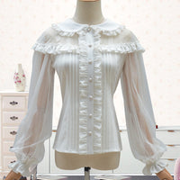 Sweet Sheer Sleeve Women's Chiffon Shirts Peter Pan Collar Lolita Blouse