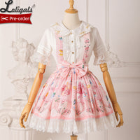 Berries & Flowers ~ Sweet Lolita Skirt Printed Salopette Dress ~ Pre-order