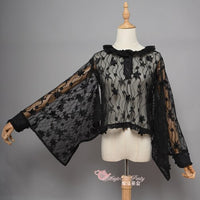 Fireworks Show ~ Kimono Style Black Lace Blouse by Magic Tea Party