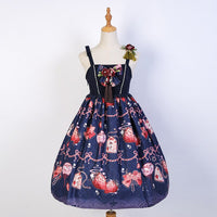 Strawberry & Bow ~ Printed High Waisted Lolita Dress by Idream