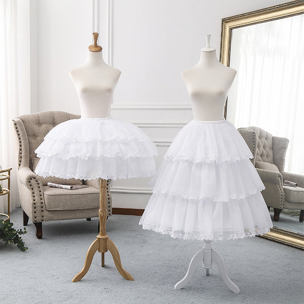 Adjustable Tea Length Lolita Petticoat Puffy Crinoline Underskirt with Lace Trimming