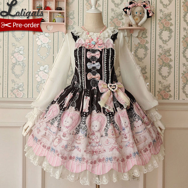 Kitten's Tea Party ~ Sweet Printed Lolita Salopette Dress by Alice Girl ~ Pre-order