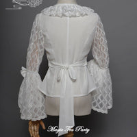 Kimono Alice ~ Sweet White Blouse Sheer Long Bell Sleeve Lolita Shirt by Magic Tea Party