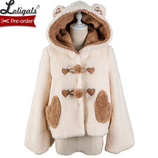 Jelly Bear ~ Sweet Fluffy Hooded Winter Coat Lovely Lolita Jacket by Alice Girl ~ Pre-order
