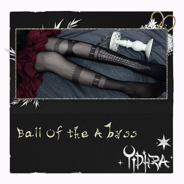 Ball of the Abyss ~ Gothic Summer Tights Black Mesh Pantyhose by Yidhra