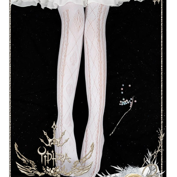 Alice's Broken Dream ~ Sweet White Lolita Tights Women's Summer Pantyhose