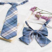 Japanese Style Plaid Bow Tie & Neck Tie Set School Uniform JK Accessories