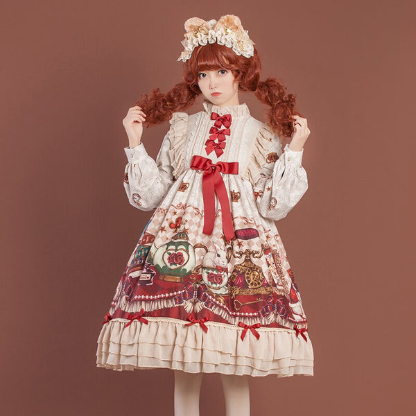 Crowned Bear ~ Sweet Long Sleeve Lolita OP Dress by OCELOT